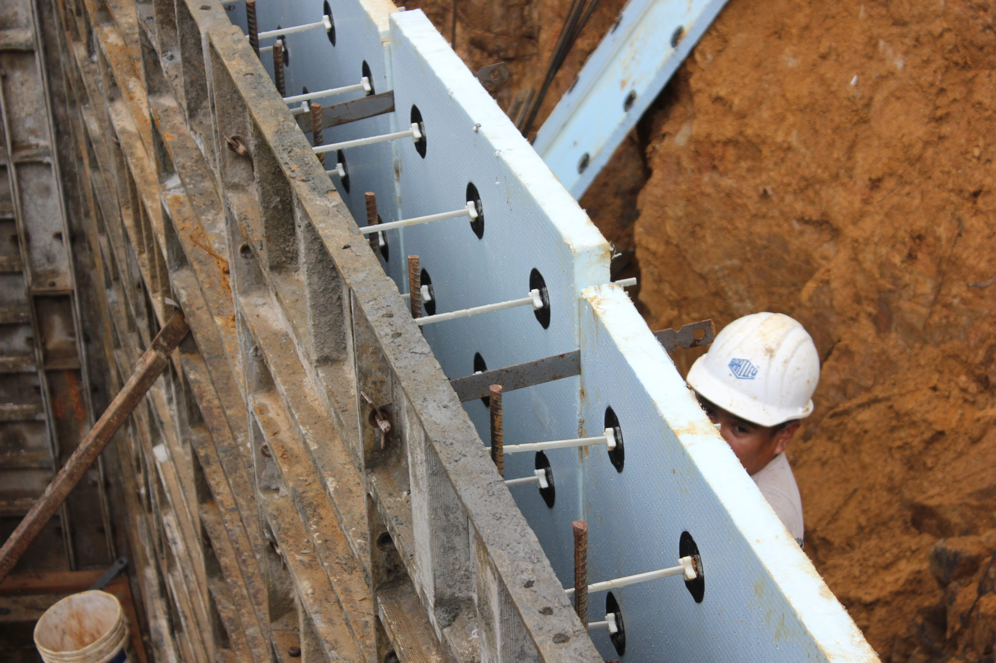 Insulation For Concrete Walls Are Centered And Placed