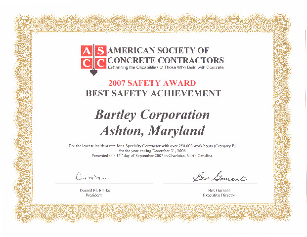 Ascc Safety Award Best Safety Achievement Bartley Corp