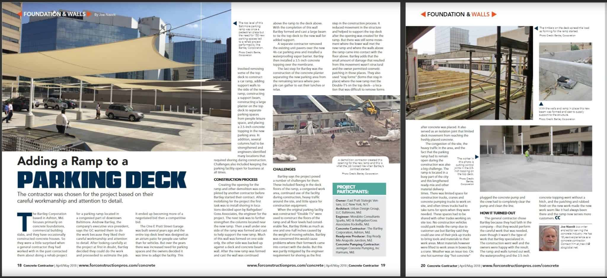 Article About Bartley Corp Adding A Ramp To A Parking Deck